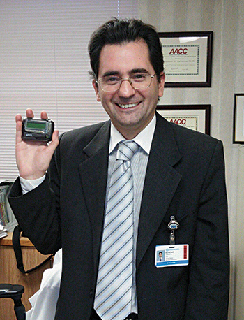 Dr. Zabaleta on the day he surrendered the pager used in the first two months that the new troponin order protocol was in place.