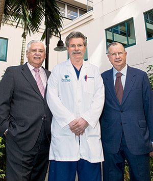 "Serrano (from left), Dr. Reineke, and Dr. Giffler at Broward Health. Says Serrano: ""The lab can't do the formulary for the doctors. The doctors have to do their own."""