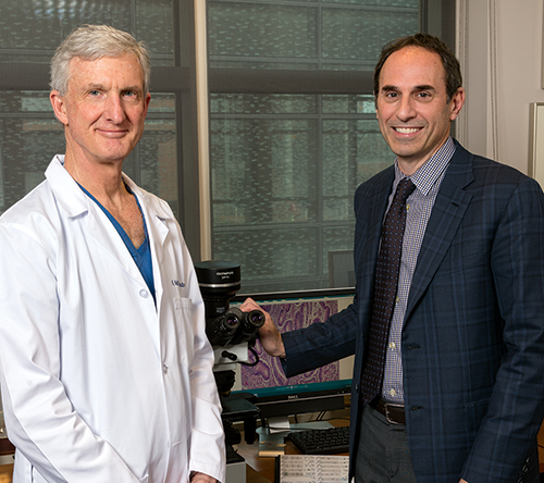 Dr. Jonathan Epstein (right) and Dr. H. Ballentine Carter were two members of the group that wrote the consensus statement on the role of pathologists in determining eligibility for active surveillance. Dr. Epstein and others are also proposing a new five-level grading system.