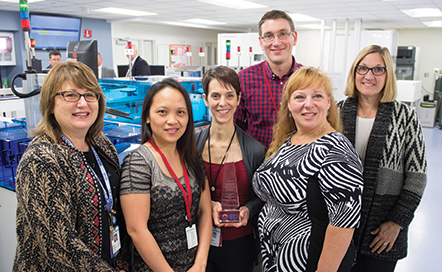 From left: Irene Dusich and microbiology laboratory staffers Emmylou Dela Cruz, Becky Lindgren, Steve Diederich, Ivy Villa, and April Victor formed the key user group that helped NorthShore University HealthSystem go live with the BD Kiestra TLA system late last year.